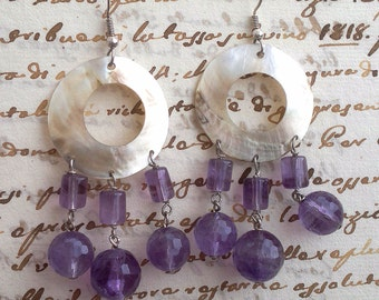 mother of Pearl and Amethyst earrings