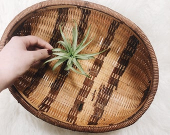 Vintage Woven Coffee Table Tray / Vintage Serving Tray / Vintage Bamboo Tray/ Boho Coffee Table Tray / Wall Basket