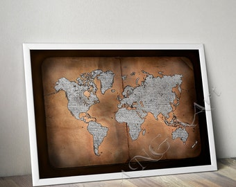 World text map etsy world map world map poster world map wall decor printable map book map book background home decor map world map text world map print gumiabroncs Images
