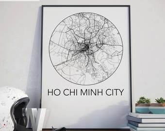 Ho Chi Minh City, Vietnam Minimalist City Map Print