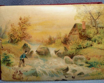 Victorian Celluloid Autograph Album Man Fishing in Stream Cover