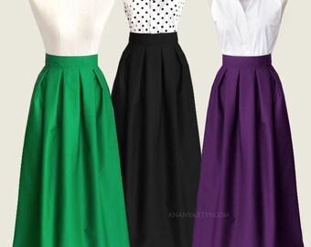 Cotton pleated long skirt with pockets - custom size length  maxi, floor length, ball gown skirt in black blue navy  green plum gray