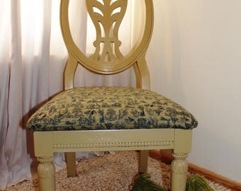 Beautiful Shabby Chic French Style Chair. Hand painted . French Antique Fabric. Rich Gold.