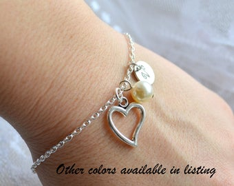 Bridesmaid bracelet Heart bracelet Personalized Bridesmaid gift Wedding jewelry Bridesmaid jewelry Will You be my bridesmaid gift Proposal