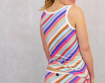 Underwear Set, Tank Top and Panties, Underwear Top and Bottom, Tank+ Panty, Lingerie Set, Diagonal Stripes Pattern, Stripe Tank Top,Tank Top