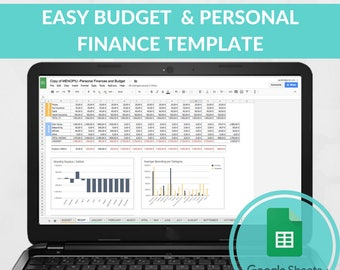 Easy Budget Spreadsheet Template, Expense Tracker, Family Budget, Excel Template, Google Sheets Budget Template Monthly Planner Debt Tracker