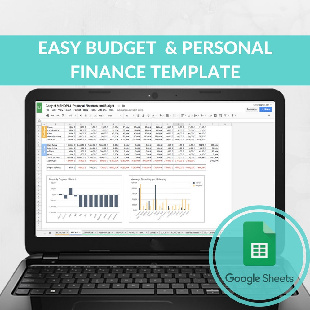 Easy Budget Spreadsheet Template Expense Tracker Family