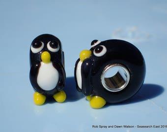 Glass penguin European charm bracelet bead - lampwork, murano, bird, animal, cute, pingu, arctic, silver plated, zoo