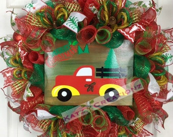 Red Truck Wreath, Merry Christmas Red Truck, Christmas Pine Tree, Winter Wreath, Cutting down Christmas Tree, Holiday Wreath, Vintage Wreath
