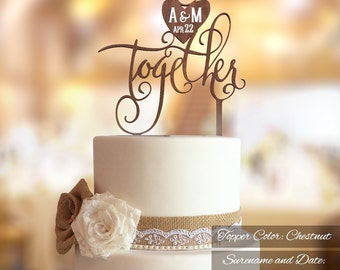 Wedding Cake Topper.  FN33. Better Together Wedding Cake Topper. Bride and Groom's initials engraved. Rustic Wedding Cake Topper.
