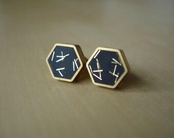 black with gold glitter sprinkles - mini brass hexagon stud earrings
