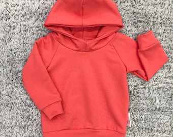 Hoodie for baby and child, french Terry coral, very soft