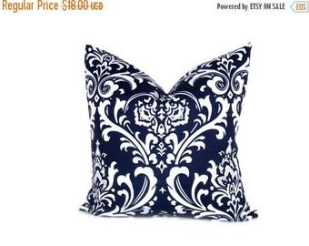 15% Off Sale Decorative  Pillows Navy Blue Pillow 20 x 20 Throw Pillow Cover Damask Dark Blue Pillow Home Decor Blue pillow sham accent  hou