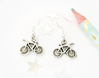 Bicycle Charm Earrings, Tiny Bicycles, Gift for Cyclist, Tour De France, Fun Earrings, Gift For Her, Cyclist Gift, Bicycle Charms