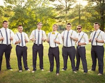 Mens Necktie and Suspender Set for Wedding, Mens Neck Tie and Suspender Set