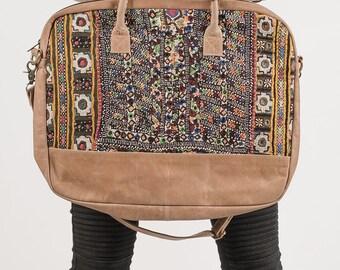 Vintage Tribal Bag For Laptop, Messenger Laptop Bag, Leather Messenger Bag, Laptop Bag 13- 15.6- 17, Embroidered Bag