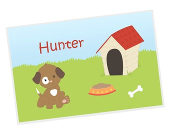 Puppy Dog Personalized Placemat - Puppy Dog Brown White Spot Eye Grass Dog House with Name, Customized Laminated Placemat