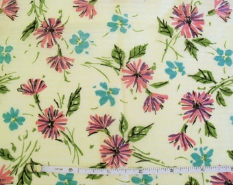 Vintage 60s Floral on Yellow Print Dimity Fabric