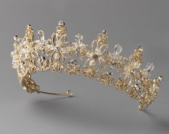 Gold Bridal Crown, Gold Wedding Tiara, Crystal Wedding Crown, Rhinestone Bridal Tiara, Bridal Hair Accessory, Bridal Headpiece ~TI-3302