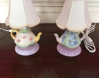Children's china bedroom lamps with shades