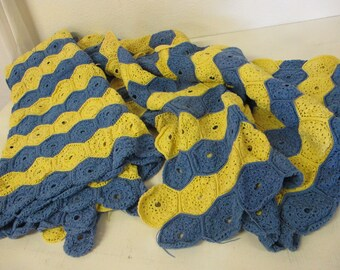 Crochet Afghan Bedspread Crochet Blanket Blue and Yellow Cotton Crochet 90 x 85