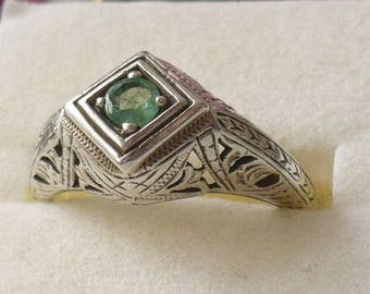 Genuine emerald and sterling silver ring, size 7