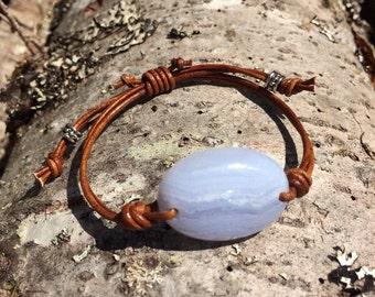 Purple Agate and Leather Bracelet