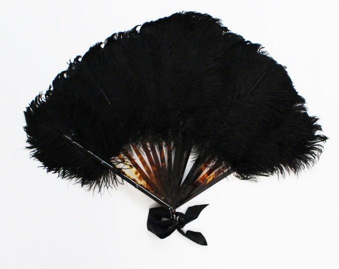 Vintage 1940s Black Ostrich Feather Burlesque Fan