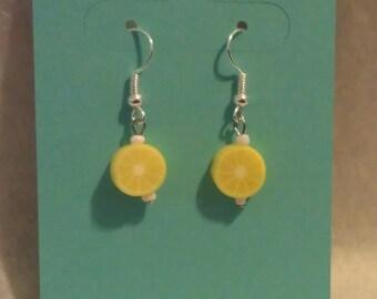 Kawaii Yellow Lemon Slice Earrings