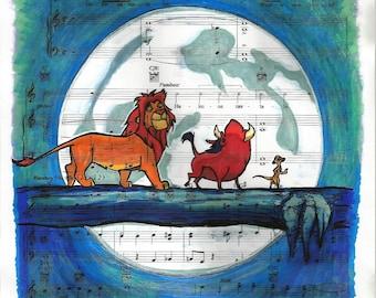 The Lion King (Hakuna Matata) Sheet Music - Art Print, Simba Pumbaa Timon, Disney Art, Kids Wall Art
