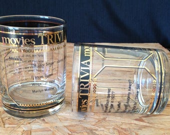 Vintage Culver Movie Trivia Old Fashioned Bar Glasses, Pair