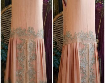 Jeweled Peach 1920's Beaded Silk Chiffon Art Deco Style Handmade Dress Gown 20s Style Flapper Gatsby Embroidered