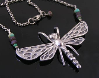 Large Dragonfly Necklace, Dragonfly Jewelry, Beaded Necklace with Dragonfly Pendant, Statement Necklace, Czech Bead Jewelry, N2082