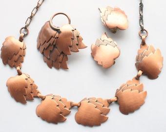 Vintage Copper Necklace Earrings Brooch Set 1960s Copper Leaves Parure Retro