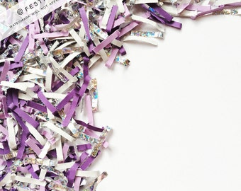 Holiday Confetti Stock Photo | Styled Stock Photography | Purple Confetti | Silver Confetti | Flat Lay Digital Image | Instant Download