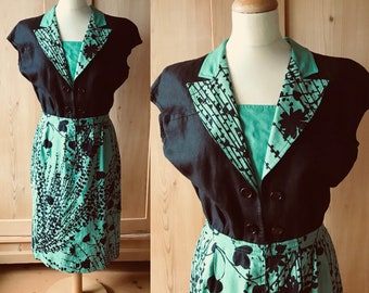 1980s valentino green and black linen dress