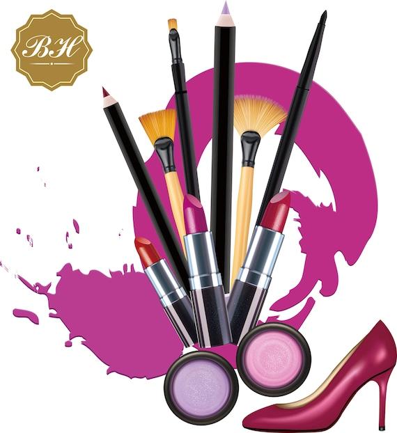 makeup clipart cosmetics clipart makeup brush clipart rh etsy com makeup clip art border makeup clip art pictures
