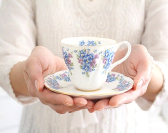 DEMITASSE CUP, English Bone China Cup and Saucer by Royal Albert, Dainty Dina Series, Emily Pattern, Replacement China