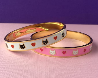 Gold Plated Cats Enamel Bangle, Kawaii Bracelet, Cat Jewellery, Pink jewelry, Black Cats, Gifts for Cat Lovers, Ladies Gifts