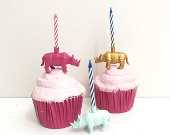 Mint Pink Gold Rhinoceros Rhino Candle Holder Cake Topper / Animal Birthday Party / Rhino Party Animal Party Decor / Cupcake Decorations