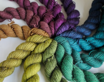 Shadow Rainbow Mini Skein Set - BFL 4 Ply