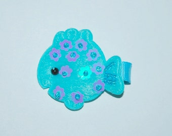 Turquoise Blue Goldfish No Slip Hair Clip - Buy 3 Items, Get 1 Free