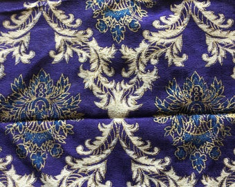 "Antique Vintage Ornate Purple Fabric Panel // 72x43"" > textured > deep purple, indigo blue, gilded gold and white acanthus"