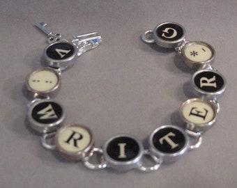 Typewriter key Bracelet spells WRITER  Black and cream Typewriter key Jewelry Steampunk