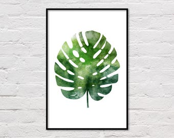 Tropical Leaf Print, Monstera Print, Tropical Poster, Printable Art, Tropical Art Print, Tropical Wall Art, Plant Print, Digital Download