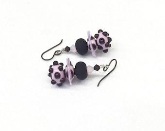 Lampwork Beaded Dangle Earrings, Pink Earrings, Glass Earrings, Handmade Earrings, Lampwork Earrings, Fashion Earrings, Bead Earrings, Glass