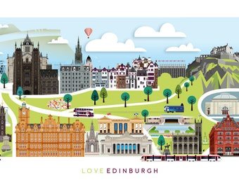 Edinburgh Skyline Print   Love Edinburgh   Princes Street   Edinburgh Castle   Scottish Wall Art   Art Print   Scottish Mother's Day Gift