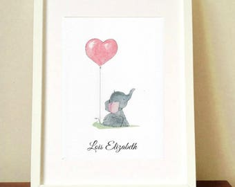 Large framed art baby elephant holding balloon heart balloon art picture A4 handstitched watercolour print picture