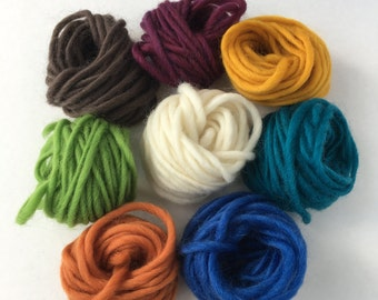Wool Yarn Assortment-- 48 yards of high quality 100% wool roving yarn in  8 assorted colors