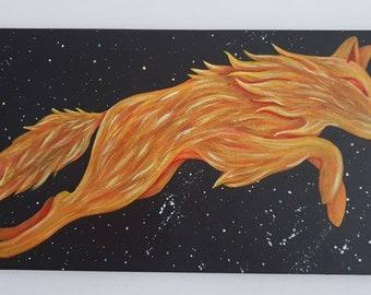 Cosmic Wolf, Fire Wolf, Wolf Painting Original Spiritual Art